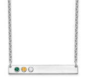 Sterling Silver Personalized 3 Crystal Birthstone Bar Necklace