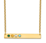 14K Yellow Gold Personalized 4 Crystal Birthstone Bar Necklace