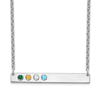 Sterling Silver Personalized 4 Crystal Birthstone Bar Necklace