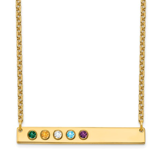 14K Yellow Gold Personalized 5 Crystal Birthstone Bar Necklace