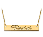 Yellow Gold Personalized Script Name Bar Necklace