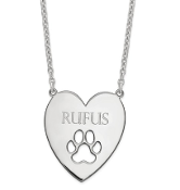 Sterling Silver Personalized Heart Pendant Paw Print Necklace