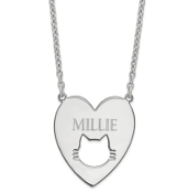 Sterling Silver Personalized Heart Pendant Cat Necklace