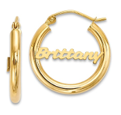 14K Yellow Gold Polished Personalized Name Hoop Earrings
