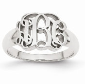 White Gold Personalized Monogram Signet Ring