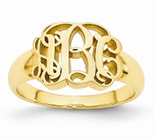 Yellow Gold Personalized Monogram Signet Ring