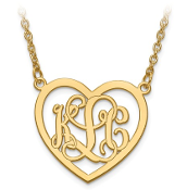 Yellow Gold Personalized Monogram Heart Pendant Necklace