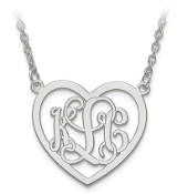 White Gold Personalized Monogram Heart Pendant Necklace