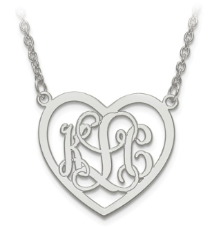 Sterling Silver Personalized Monogram Heart Pendant Necklace