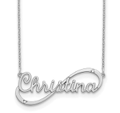 14K White Gold Personalized Nameplate Diamond Necklace