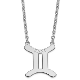 Sterling Silver Personalized Gemini Zodiac Name Necklace