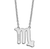 Sterling Silver Personalized Scorpio Zodiac Name Necklace