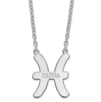 Sterling Silver Personalized Pisces Zodiac Name Necklace