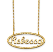 14K Yellow Gold Personalized Fancy Border Nameplate Necklace