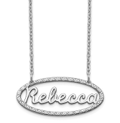 14K White Gold Personalized Fancy Border Nameplate Necklace