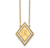 14K Yellow Gold Personalized Diamond  Initial Diamond Necklace