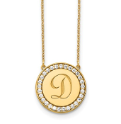 14K Yellow Gold Personalized Circle  Initial Diamond Necklace