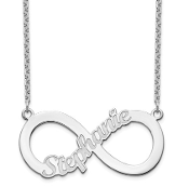 14K White Gold Personalized Infinity Nameplate Necklace