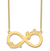 14K Yellow Gold Personalized Infinity 2 Name Necklace