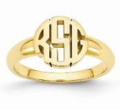 14K Yellow Gold Personalized Block Circle Monogram Signet Ring