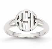 14K White Gold Personalized Block Circle Monogram Signet Ring