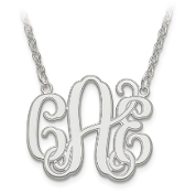 14K White Gold Personalized Monogram Necklace