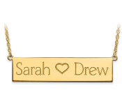 14K Yellow Gold Personalized 2 Name & Heart Bar Necklace