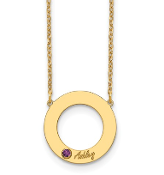 14K Yellow Gold Personalized Circle 1 Name & Birthstone Necklace