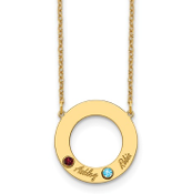 14K Yellow Gold Personalized Circle 2 Name & Birthstone Necklace
