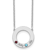 14K White Gold Personalized Circle 2 Name & Birthstone Necklace