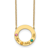14K Yellow Gold Personalized Circle 3 Name & Birthstone Necklace