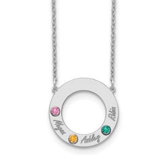 Sterling Silver Personalized Circle 3 Name & Birthstone Necklace