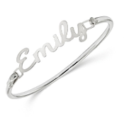 Sterling Silver Personalized Name / Word Bangle Bracelet