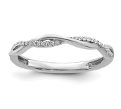 14K White Gold Stackable Diamond Crossover Ring
