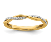 14K Yellow Gold Stackable Diamond Crossover Ring