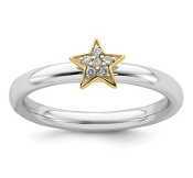 Sterling Silver Stackable Gold Tone Star Diamond Ring