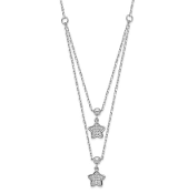 Sterling Silver Layered Dangle Star CZ Necklace