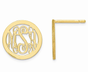 14K Yellow Gold Personalized Monogram Circle Post Earrings