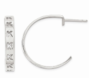 14K White Gold Personalized Letter Initial Post Hoop Earrings