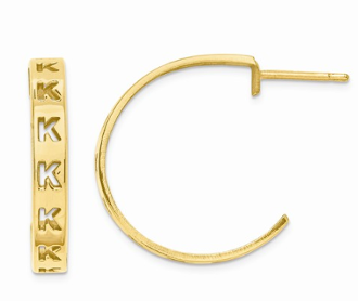 14K Yellow Gold Personalized Letter Initial Post Hoop Earrings