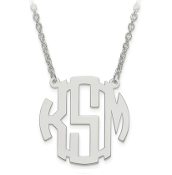 14K White Gold Personalized Block Letter Monogram Necklace