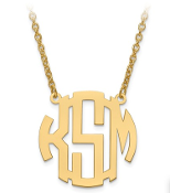 14K Yellow Gold Personalized Block Letter Monogram Necklace