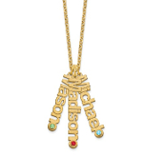 14K Yellow Gold Personalized 3 Name & Birthstone Necklace