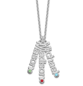 14K White Gold Personalized 3 Pendant Name & Birthstone Necklace