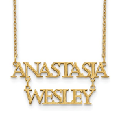 14K Yellow Gold Personalized Stacked 2 Name Necklace