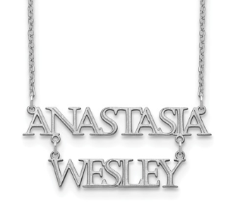 14K White Gold Personalized Stacked 2 Name Necklace