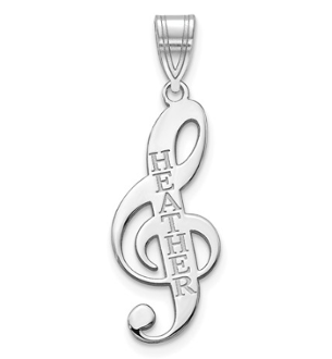 Sterling Silver Personalized Music Note Name Pendant