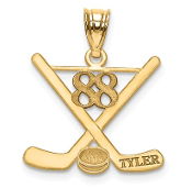 14K Yellow Gold Personalized Hockey Pendant