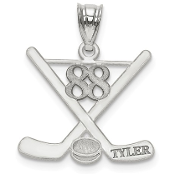 14K White Gold Personalized Hockey Pendant