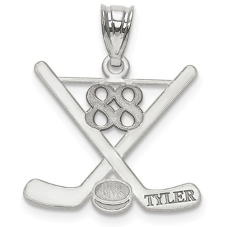 Sterling Silver Personalized Hockey Pendant